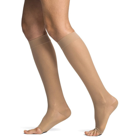 Sigvaris Sheer Women's 20-30 mmHg OPEN TOE Knee High, Suntan