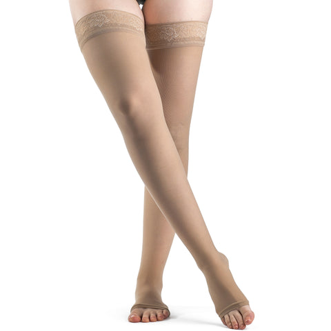 Sigvaris Sheer Women's 15-20 mmHg OPEN TOE Thigh High, Natural
