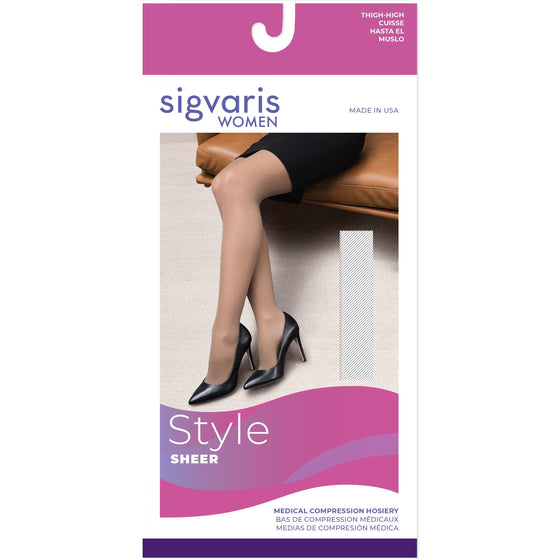 Sigvaris Sheer Women's 20-30 mmHg OPEN TOE Thigh High
