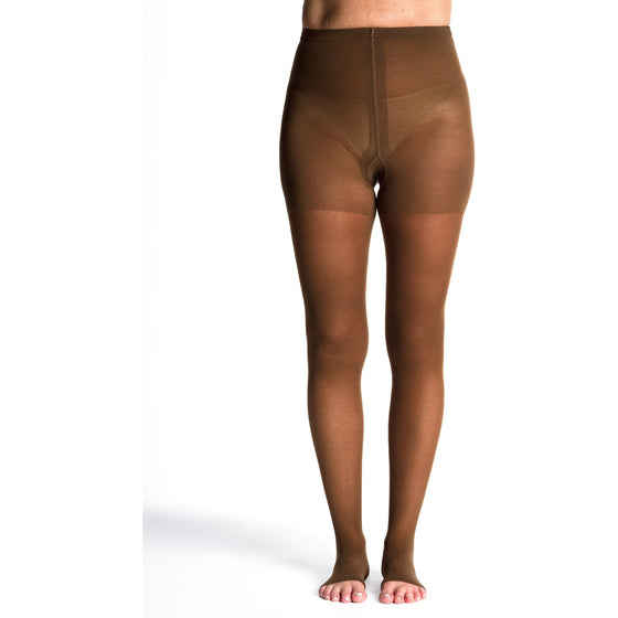 Sigvaris Sheer Women's 30-40 mmHg OPEN TOE Pantyhose, Mocha