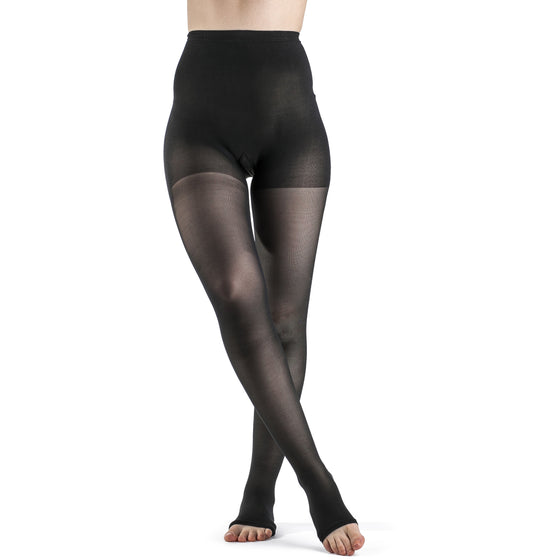 Sigvaris Sheer Women's 30-40 mmHg OPEN TOE Pantyhose, Black