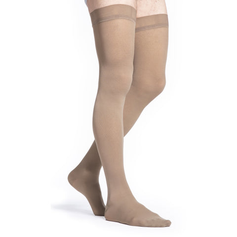 Sigvaris Microfiber Men's 30-40 mmHg Thigh High, Tan-Khaki