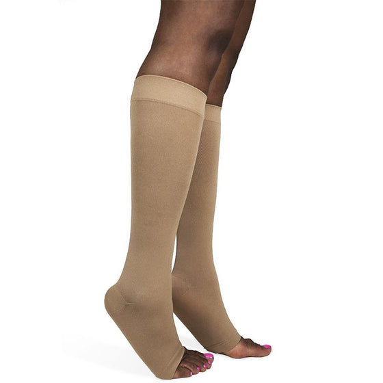 Sigvaris Soft Opaque Women's 30-40 mmHg OPEN TOE Knee High, Nude