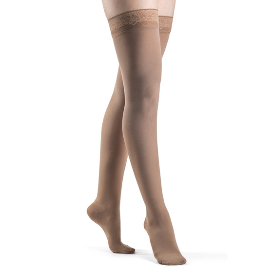 Sigvaris Soft Opaque Women's 30-40 mmHg Thigh High, Pecan