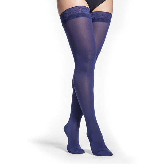 Sigvaris Soft Opaque Women's 15-20 mmHg Thigh High, Blue Iris