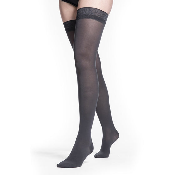 Sigvaris Soft Opaque Women's 30-40 mmHg Thigh High, Graphite