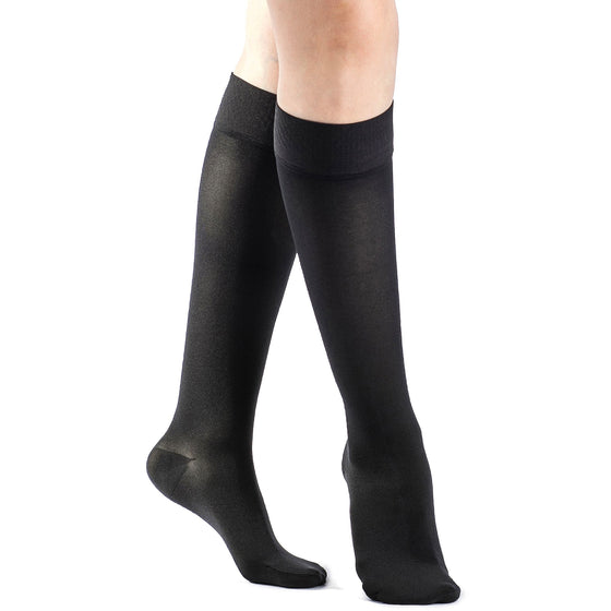 Sigvaris Opaque Women's 30-40 mmHg Knee High w/ Silicone Band Grip-Top, Black