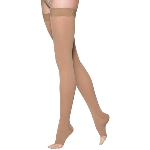 Sigvaris Opaque 20-30 mmHg OPEN TOE Thigh High, Light Beige (Crispa)