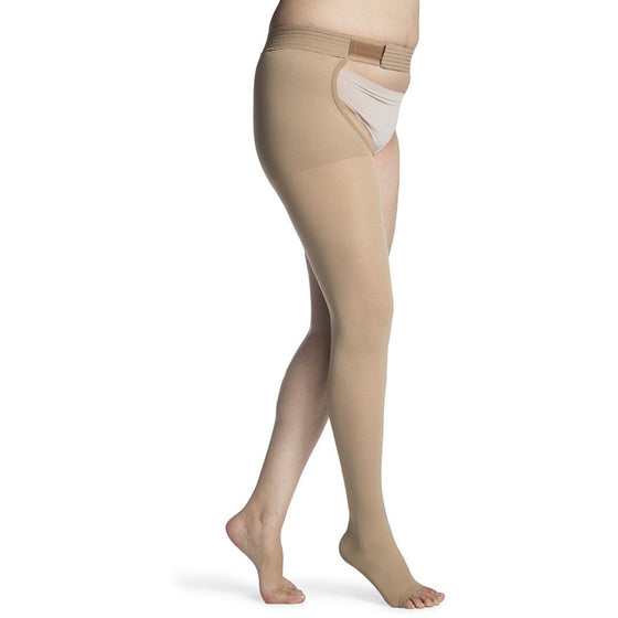 Sigvaris Opaque Women's 20-30 mmHg OPEN TOE Thigh High w/ Waist Attachment, Light Beige (Crispa)