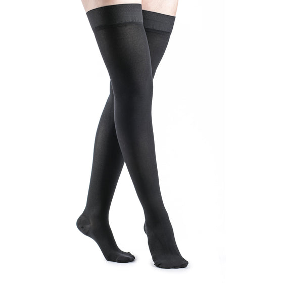 Dynaven Women's 20-30 mmHg Thigh High, Black