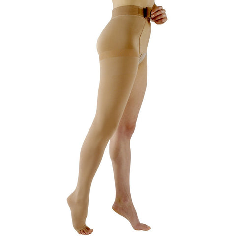 Sigvaris Natural Rubber 30-40 mmHg OPEN TOE Thigh High w/ Waist Attachment, Right Leg