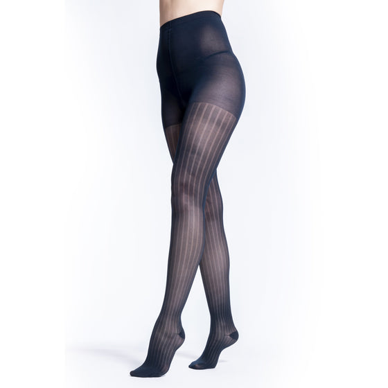 Sigvaris Patterns Women's 20-30 mmHg Pantyhose, Dark Navy Stripe