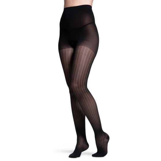 Sigvaris Patterns Women's 20-30 mmHg Pantyhose, Onyx Stripe