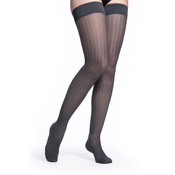 Sigvaris Patterns Women's 15-20 mmHg Thigh High, Graphite Stripe