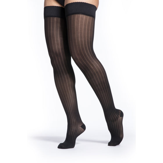Sigvaris Patterns Women's 15-20 mmHg Thigh High, Onyx Stripe