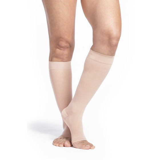Sigvaris Sheer Women's 15-20 mmHg OPEN TOE Knee High, Toasted Almond
