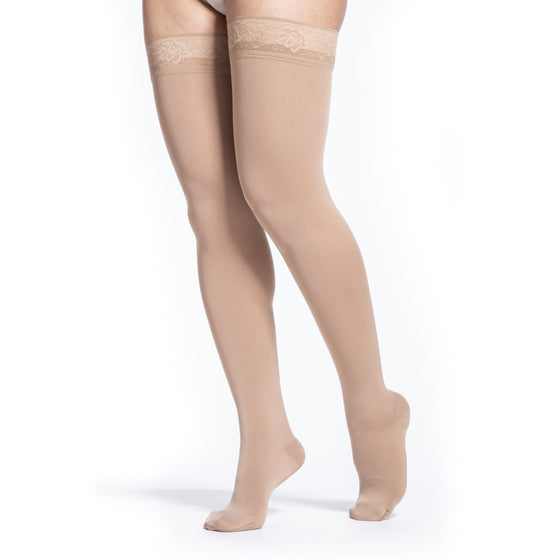 Sigvaris Soft Opaque Women's 15-20 mmHg Thigh High, Caramel