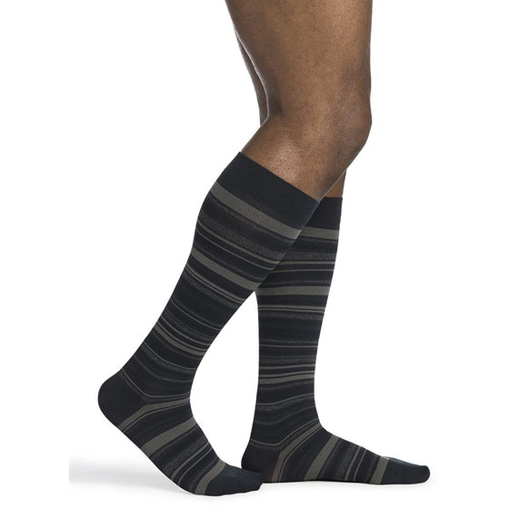 Sigvaris Microfiber Shades Men's 15-20 mmHg Knee High, Mini Stripe Navy