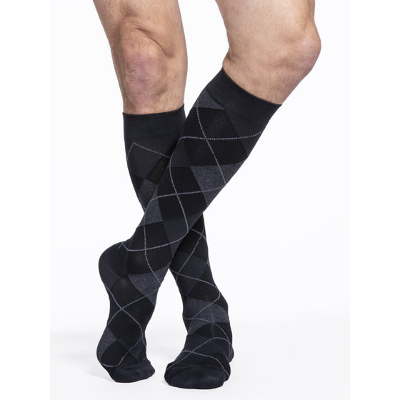 Sigvaris Microfiber Shades Men's 15-20 mmHg Knee High, Onyx Argyle