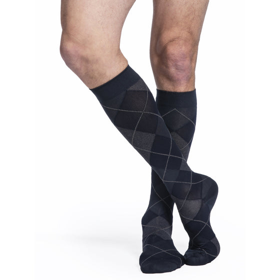Sigvaris Microfiber Shades Men's 15-20 mmHg Knee High, Navy Argyle