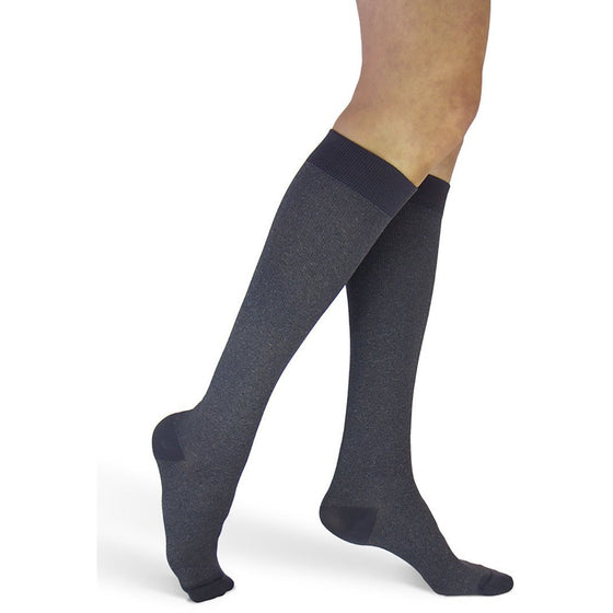 Sigvaris Microfiber Patterns Women's 20-30 mmHg Knee High, Graphite Heather