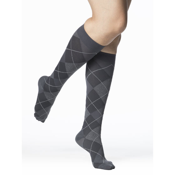 Sigvaris Microfiber Patterns Women's 20-30 mmHg Knee High, Graphite Argyle