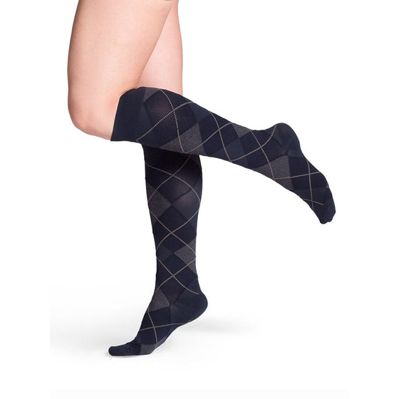Sigvaris Microfiber Patterns Women's 20-30 mmHg Knee High, Navy Argyle
