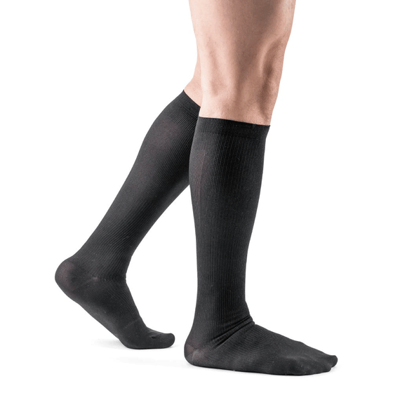 Actifi Men's 20-30 mmHg Ribbed Dress Socks, Black