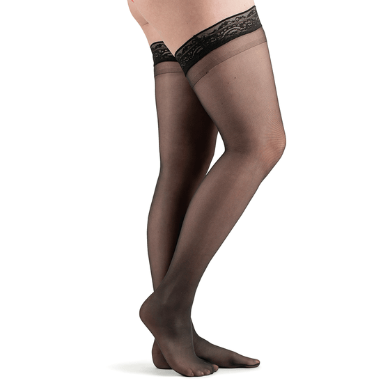 Actifi Women's 20-30 mmHg Sheer Thigh High Stockings, Black