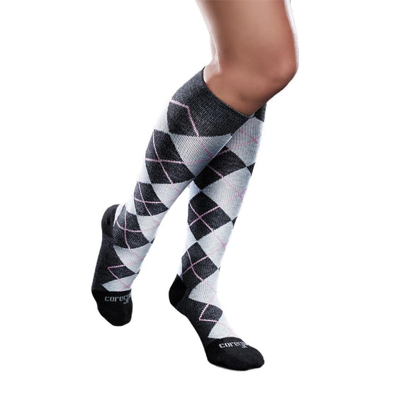 Core-Spun Patterned 20-30 mmHg Knee High Compression Socks