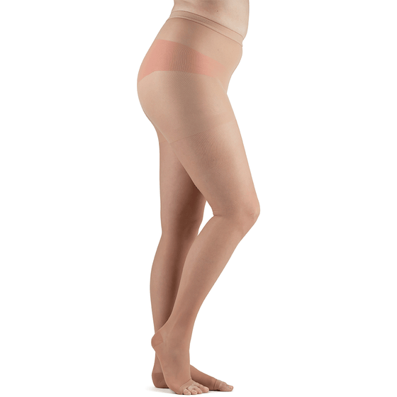 Actifi Women's 15-20 mmHg Sheer Pantyhose Open Toe Stockings, Light Nude