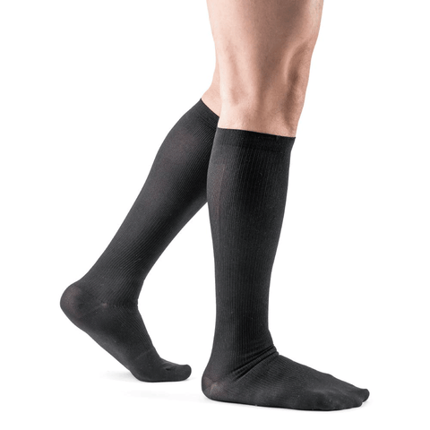 Actifi Men's 8-15 mmHg Ribbed Dress Socks, Black