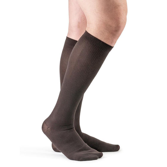 Actifi Men's 20-30 mmHg Ribbed Dress Socks, Brown