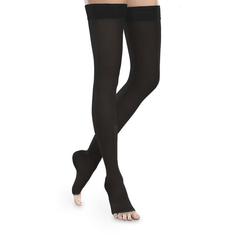 Therafirm Sheer Ease Women's 15-20 mmHg OPEN TOE Thigh High