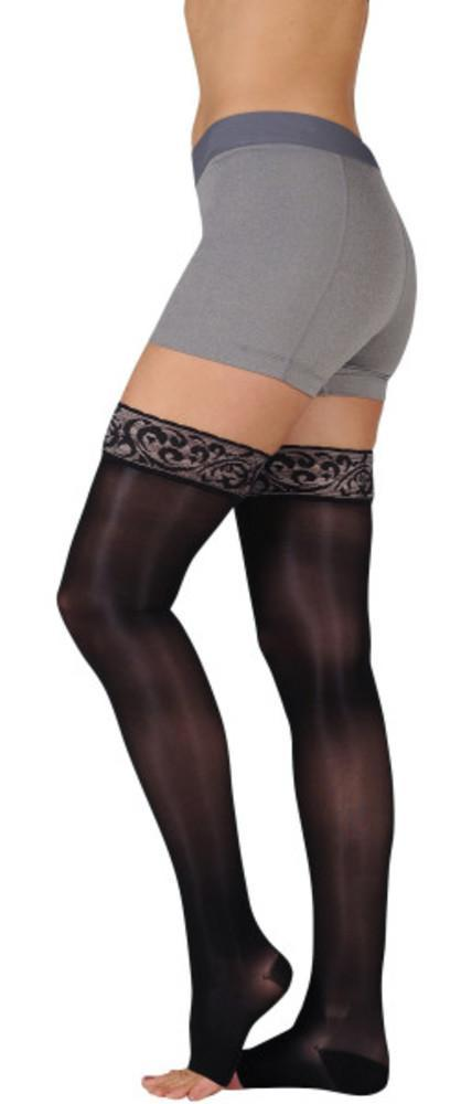 Juzo Women's Naturally Sheer 30-40 mmHg OPEN TOE Thigh High w/ Silicone Top Band