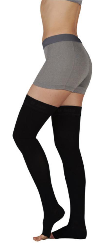 Juzo Soft 15-20 mmHg OPEN TOE Thigh High w/ Silicone Top Band