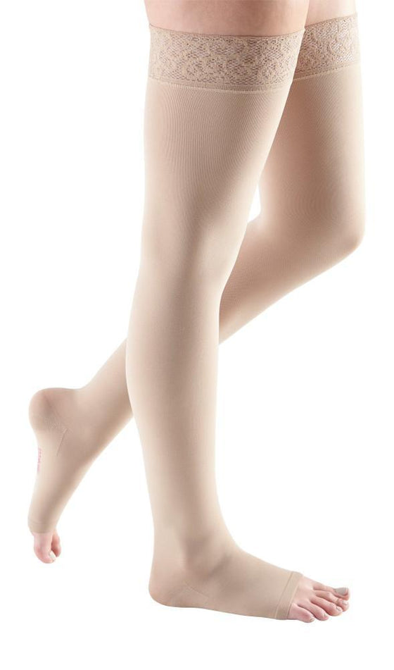 Mediven Comfort 15-20 mmHg OPEN TOE Thigh High w/ Lace Silicone Top Band