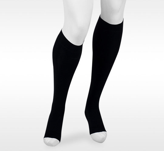 Juzo Assist 30-40 mmHg OPEN TOE Knee High w/Silicone Top Band, Black