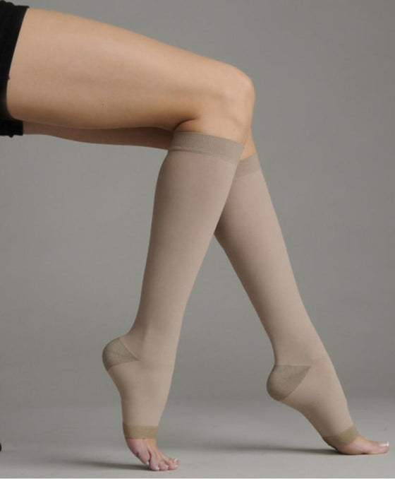 Juzo Soft Silver 20-30 mmHg OPEN TOE Knee High w/ Silicone Top Band