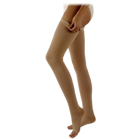 Sigvaris Natural Rubber 30-40 mmHg OPEN TOE Thigh High w/ Silcone Beaded Grip-Top