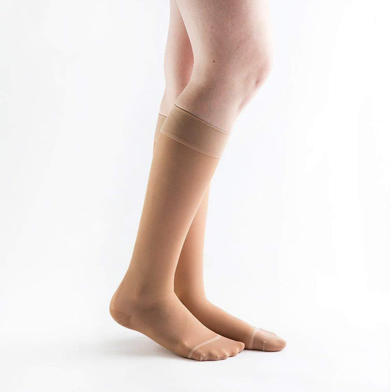 Actifi Women's 15-20 mmHg Sheer Wide Knee High Stockings, Light Nude