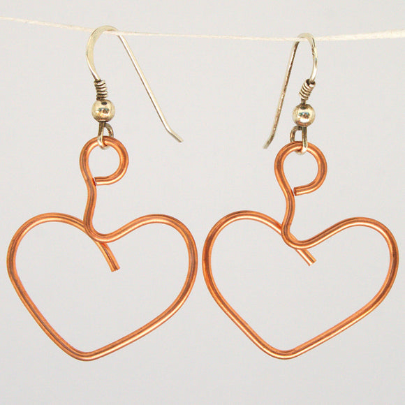 Heart Wire-Sculpture Earrings