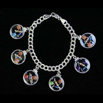 Six CQR - Crystal Quantum Radio Beta Blocker Charm Bracelet with Sterling Silver bezels