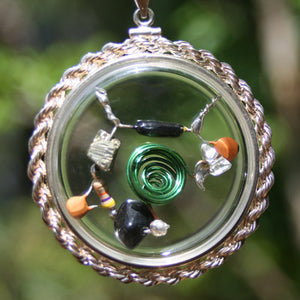 Wormhole Beta Blocker Crystal Quantum Radio Amulet in .925 sterling silver hand-braided real-rope bezel