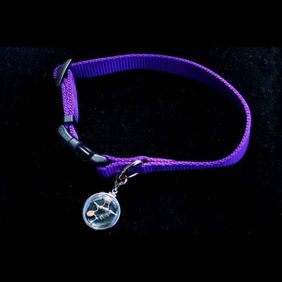 Doggie Beta Blocker Crystal Quantum Radio Amulet with Adjustable Colorful Collar in stunning purple color
