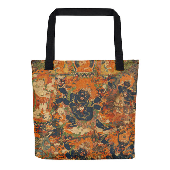 Mahakala Thangka Hand-Sewn Weather Resistant Tote Bag