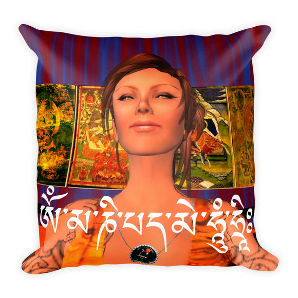 Om Mani Padme Hum Square Pillow