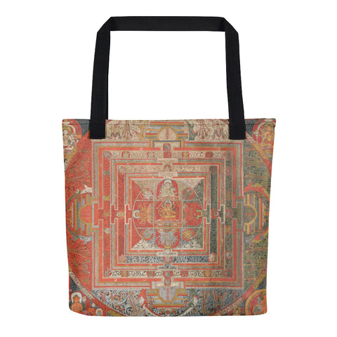 Manjuvajra Mandala Thangka Hand-Sewn Weather Resistant Tote Bag