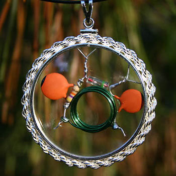 Quantum Coil Amulet Beta-Blocker CQR - Crystal Quantum Radio™ with real-rope, hand-braided Sterling Silver bezel