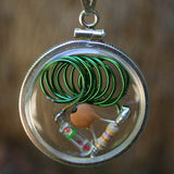 Spiral Beta-Blocker CQR - Crystal Quantum Radio™ Amulet in Sterling Silver bezel